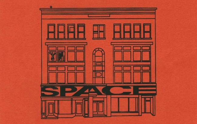 Illustration of SPACE's building, the Durant Block. Black outline on red backdrop.