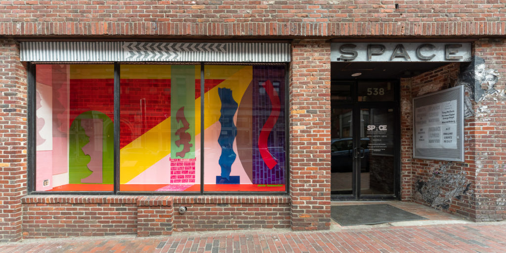 The 538 Congress St Window and Poster Case exhibition spaces outside SPACE.