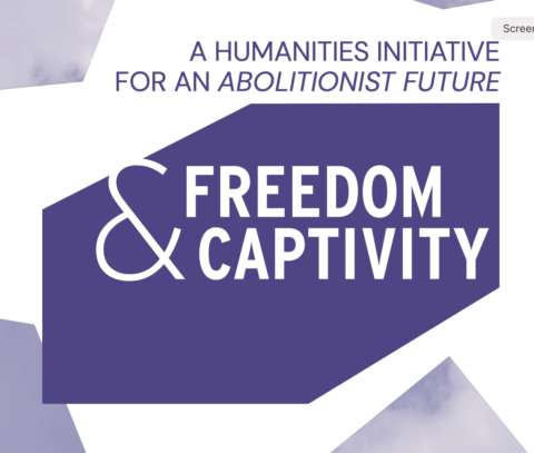 """Purple and White Freedom & Captivity Logo """"A humanities initiative for an abolitionist future."""""""